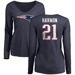 Duron Harmon New England Patriots Women's Navy Pro Line Name & Number Logo Slim Fit Long Sleeve T-Shirt -