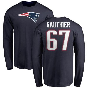 Tyler Gauthier New England Patriots Youth Navy Any Name & Number Logo Long Sleeve T-Shirt -