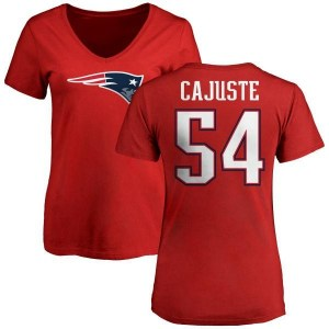 Yodny Cajuste New England Patriots Women's Red Name & Number Logo Slim Fit T-Shirt -