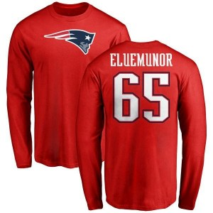Jermaine Eluemunor New England Patriots Youth Red Name & Number Logo Long Sleeve T-Shirt -