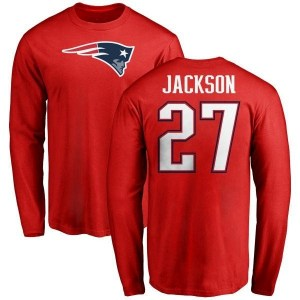 J.C. Jackson New England Patriots Youth Red Name & Number Logo Long Sleeve T-Shirt -