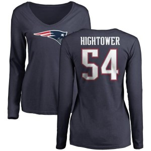 Dont'a Hightower New England Patriots Women's Navy Pro Line Name & Number Logo Slim Fit Long Sleeve T-Shirt -
