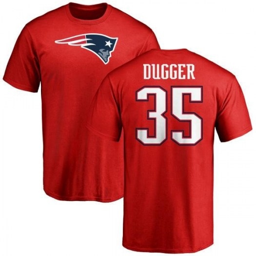 Kyle Dugger New England Patriots Men's Red Name & Number Logo T-Shirt -