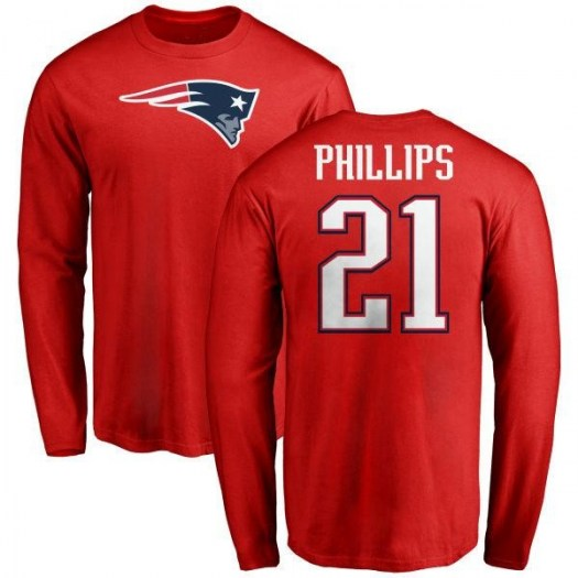 Adrian Phillips New England Patriots Youth Red Name & Number Logo Long Sleeve T-Shirt -