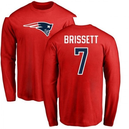 Jacoby Brissett New England Patriots Men's Red Pro Line Name & Number Logo Long Sleeve T-Shirt -
