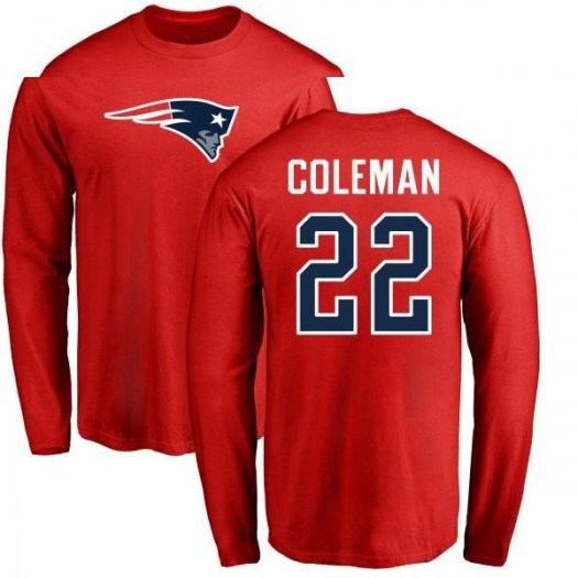 Justin Coleman New England Patriots Men's Red Pro Line Name & Number Logo Long Sleeve T-Shirt -