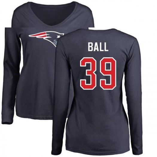 Montee Ball New England Patriots Women's Navy Pro Line Name & Number Logo Slim Fit Long Sleeve T-Shirt -